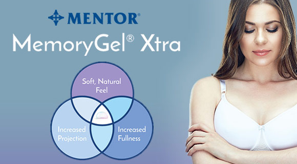 Mentor MemoryGel Xtra breast implants model